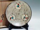 島岡達三の丸窓紋赤絵皿19.5cm